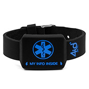 4ID Black Pocket Medical Bracelet with Blue Print - HSKU:4id101