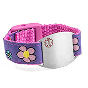 Flower Sport Strap Medical Alert Bracelet For Kids And S