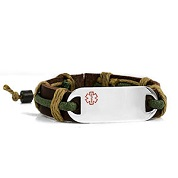 Green Accent Leather and Hemp Medical ID Bracelet