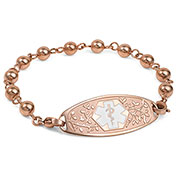 Rose Gold Beaded Medical ID Bracelet