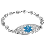 Silver Beaded Medical ID Bracelet with Blue Tag