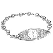 Silver Beaded Medical ID Bracelet with White Tag