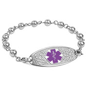 Silver Beaded Medical ID Bracelet with Purple Tag