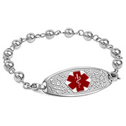 Silver Beaded Medical ID Bracelet with Red Tag