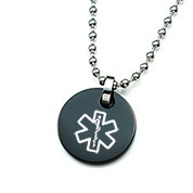 Small Black Medical Pendant Necklace