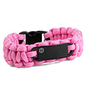 Womens Pink Paracord Medicall ID Bracelet & Black Tag MD