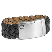 Black Leather Medical Bracelet with Stainless Clasp 9 inch