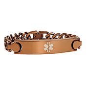 Mens Brown Plated Medical Bracelet  8 inches - HSKU:8004-BRN