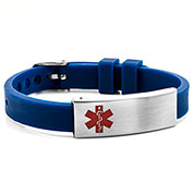 Navy Rubber Medical Bracelet with Watch Band Buckle - HSKU:6085