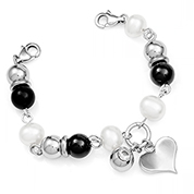 Pearl and Onyx Bracelet for Medical Tag with Engravable Heart Charm
