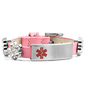 Pink Leather Bracelet with Crystal Flowers - Medical ID - HSKU:2028-P