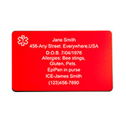 Red Aluminum Medical Wallet Card