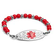 Red and Silver Bead Bracelet 7.5  inches