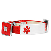 Red Leather Bracelet with Crystal Squares - Medical ID - HSKU:2033