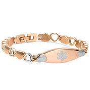Rose Color Stainless Medical Hearts Bracelet 7 5 Inch Hsku 5106