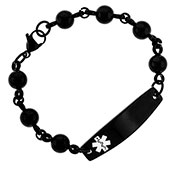 Black Stainless Beaded Medical Alert Bracelet - HSKU:1006-B