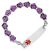 Purple Crystal Medical Bracelet - Amethyst  - HSKU:1030