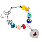 Multi-Color Bead Medical Bracelet with Heart