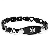 Black Satin Heart Medical Bracelet 7.5 inch - HSKU:5107