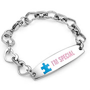 Autism Heart Link Engravable Awareness Bracelet  6.5 inch - HSKU:7994
