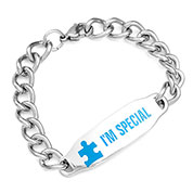 Blue Autism Link Awareness Bracelet 6.5 inch - HSKU:7995
