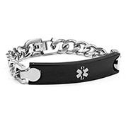 Mens Stainless Silver and Black Medical Bracelet 8 inch - HSKU:8004