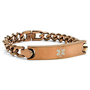 Mens Bronze Stainless Medical Bracelet  8 inches - HSKU:8004-BRN