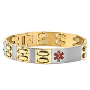 Gold Two-Tone Mens Medical ID Bracelet 9 inch- HSKU:8036