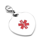 Medical Alert Stainless Heart Charm - HSKU:A1004