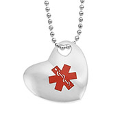 Stainless Steel Puff Heart Charm Necklace - 24 inch - Medical ID - HSKU:8009