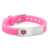 Pink Silicone Bracelet with Medical ID Tag