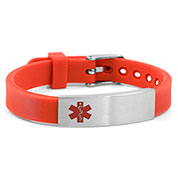 Red Silicone Bracelet with Medical ID Tag