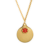 Gold Plated Medical Necklace with 2 Pendants - HSKU:DTJ-34GX