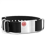 Black Nylon Watch Band Medical Bracelet - HSKU:DTJ-3640BK