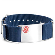 Blue Nylon Watch Band Medical Bracelet