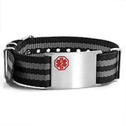 Black and Grey Nylon Stripe Medical Bracelet - Medical ID - HSKU:DTJ-3642