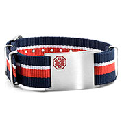 Red, White, & Blue Nylon Stripe Medical  Bracelet - Medical ID - HSKU:DTJ-3646