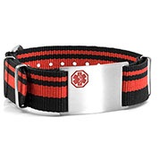 Red & Black Nylon Stripe Medical  Bracelet - HSKU:DTJ-3647