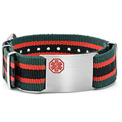 Green, Red,  Black Nylon Stripe Medical ID Bracelet - HSKU:DTJ-3648