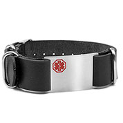 Black Leather Medical Bracelet - Medical ID - HSKU:DTJ-410BK