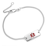 Petite Sterling Silver Adjustable Medical Bracelet - HSKU:DTJ-62