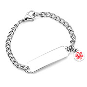 Childs Medical ID Bracelet with Red Alert Charm