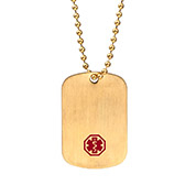 Gold Stainless Medical Dog Tag with 26 inch Chain