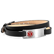 Black Double Leather Wrap Medical Bracelet