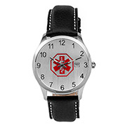 Black Leather Medical Alert Watch