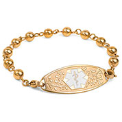 Yellow Gold Beaded Medical ID Bracelet