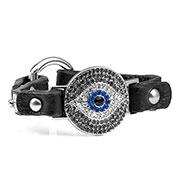 Black Watching Eye Leather Bracelet with Crystal Design - Non-Medical - HSKU:NM-2030-B