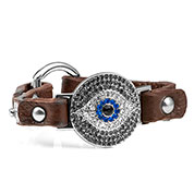 Brown Watching Eye Leather Bracelet with Crystal Design - Non-Medical - HSKU:NM-2030-BRN