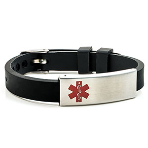 Black Rubber Medical ID with Watch Band Buckle -  HSKU:6080