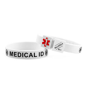 MediCube ID White - Allergy. Call 911 Silicone Wristband - HSKU:CubeALG-6095